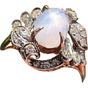 Antique 15 kt. Gold Victorian Star Moonstone and Diamond Ring.  C.1890