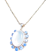 Antique Edwardian 10 kt. Gold Moonstone and Sapphires Necklace   C. 1900  SOLD