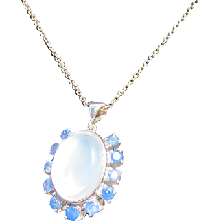 Antique Edwardian 10 kt. Gold Moonstone and Sapphires Necklace   C. 1900