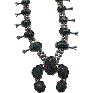 Early 1900's Navajo Squash Blooms with Royston Turquoise        C.1920