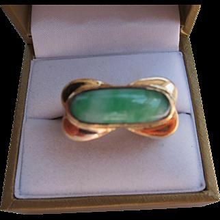 Beautiful Art Deco 18 kt. Gold Chinese Jade Ring    C.1930