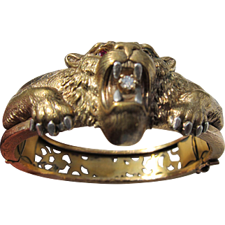 Antique Gold Fill Lion's Bracelet with Diamond and Ruby Eyes      C.1880