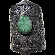 Antique Art Nouveau  Sterling Silver Chinese Jade Bracelet   C.1910