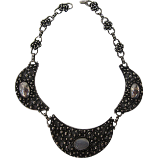 Antique Arts and Crafts Sterling Silver Moonstone Necklace  C.1910
