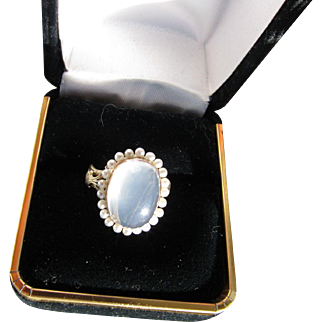 Antique  Victorian 15 kt. Gold Moonstone Pearls Ring     C.1860   Very Rare