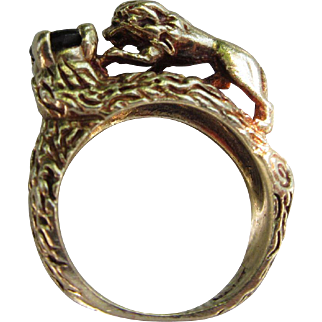 Vintage 14 kt. Gold Snake/Lion Star Sapphire Ring   C.1940
