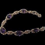 Beautiful Antique Art Nouveau 14 Kt. Gold Amethyst  Bracelet    C.1900