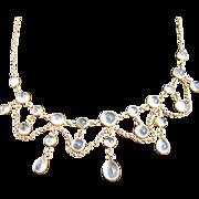Antique Edwardian 14 kt. Gold Moonstone Blue Cat's Eyes Necklace   C.1900           Christmas Sale Marked Down