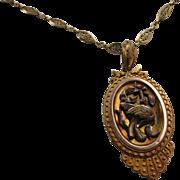 Antique Victorian 15 kt  Tri Color. Gold Necklace/Locket           C1860
