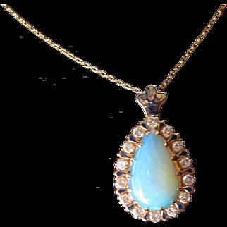 Beautiful Victorian 14 kt. Gold Diamonds and A Blue Opal Pendant     C.1890