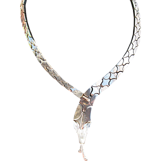 Vintage Sterling Silver Mexican Snake Necklace   C.1960