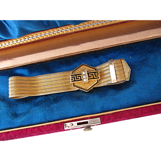 Antique Victorian 14 kt. Gold Enamel and Pearl Bracelet   C.1860