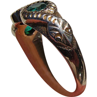 Antique Victorian 15 kt. Gold Ruby and Emeralds Snake Ring   C.1870