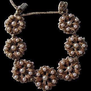 Antique Arts and Crafts 14 kt. Gold Tulip Pearl Bracelet  C.1910