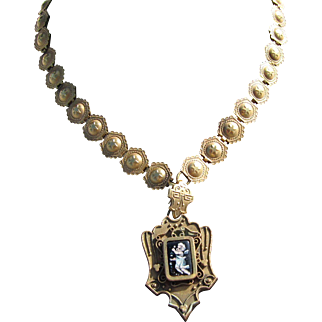 Antique Victorian Gold Book Chain Necklace with Pendant           C.1860