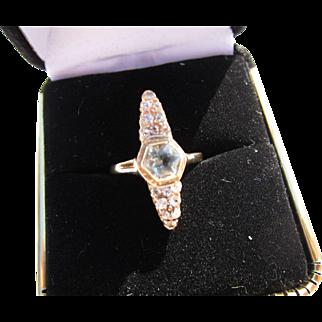 Antique Victorian 14 kt. Gold Rose Cut Diamonds and Aquamarine Ring C.1860