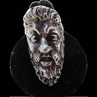 Antique Victorian Sterling Silver Greek God Zeus  Ring C.1900