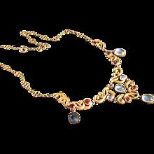 Antique Art   Nouveau   14 kt. Gold Moonstone and Garnet Necklace            C.1890