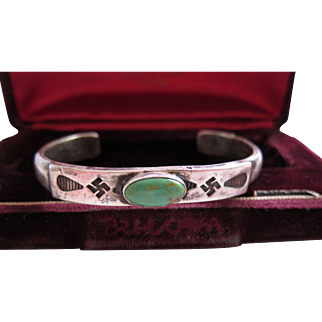 Antique Coin Silver Ingot Navajo Cuff with thunderbirds and Whirling Logs   C.1910  Rare