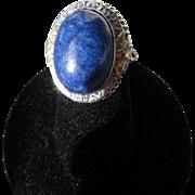 Antique Edwardian 14 kt. Gold Filigree Lapis Ring      C.1900