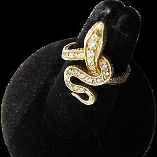 Antique Victorian 18 Kt. Gold Diamond Snake Ring   C.1890