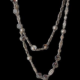 """Antique Art Nouveau Sterling Silver """" Pools of Light ' Necklace  C.1900  Rare"""