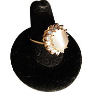 Beautiful Vintage 14 kt. Gold   Diamond Moonstone    Ring  C.1960