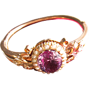 Antique Victorian Russian 14 kt. Gold Amethyst and Pearl Bracelet         C.1870