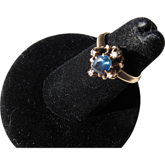 Antique Victorian  15 kt. Gold  Sapphire and Diamond Ring       C.1860