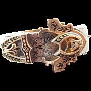 Antique Victorian 15 Kt. Gold Enamel Buckle Bracelet  C.1870