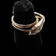 Antique Victorian 14 kt. Gold Diamond Snake Ring   C.1890