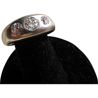 Antique  Victorian 18 kt White Gold Diamond Gypsy Ring     C.1900