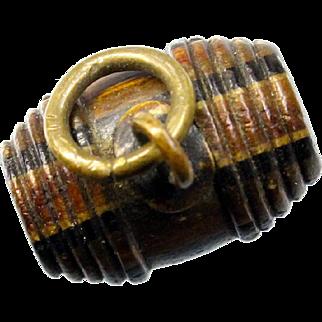 Unusual Miniature Wood Barrel Stanhope Charm or Fob Catskill Mountain Souvenir Pendant