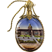"Antique French ""Grand Tour"" Perfume Scent Bottle / Vanity Mirror Necklace with Les Invalides Napoleon's Tomb Stanhope"