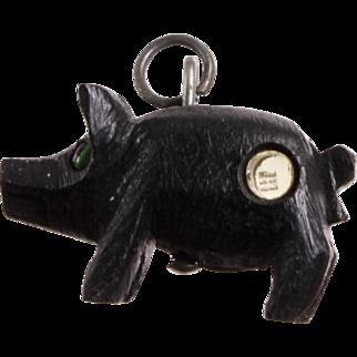 Antique Victorian Carved Black Bog Oak 'Pig' Stanhope Charm, Small Pendant