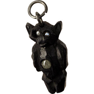 Victorian Carved Black Bog Oak 'Bat' Stanhope Charm Pendant Antique Souvenir
