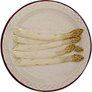 Antique French Sarreguemines Majolica Asparagus Plates, 4 Available
