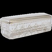 Antique English Sterling Silver & Cut Crystal Trinket Box
