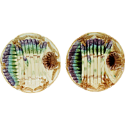 French Onnaing Antique Asparagus  Plates, 2 Available