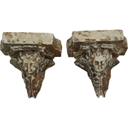 Pair French Cherub Masonry Wall Brackets Shelves