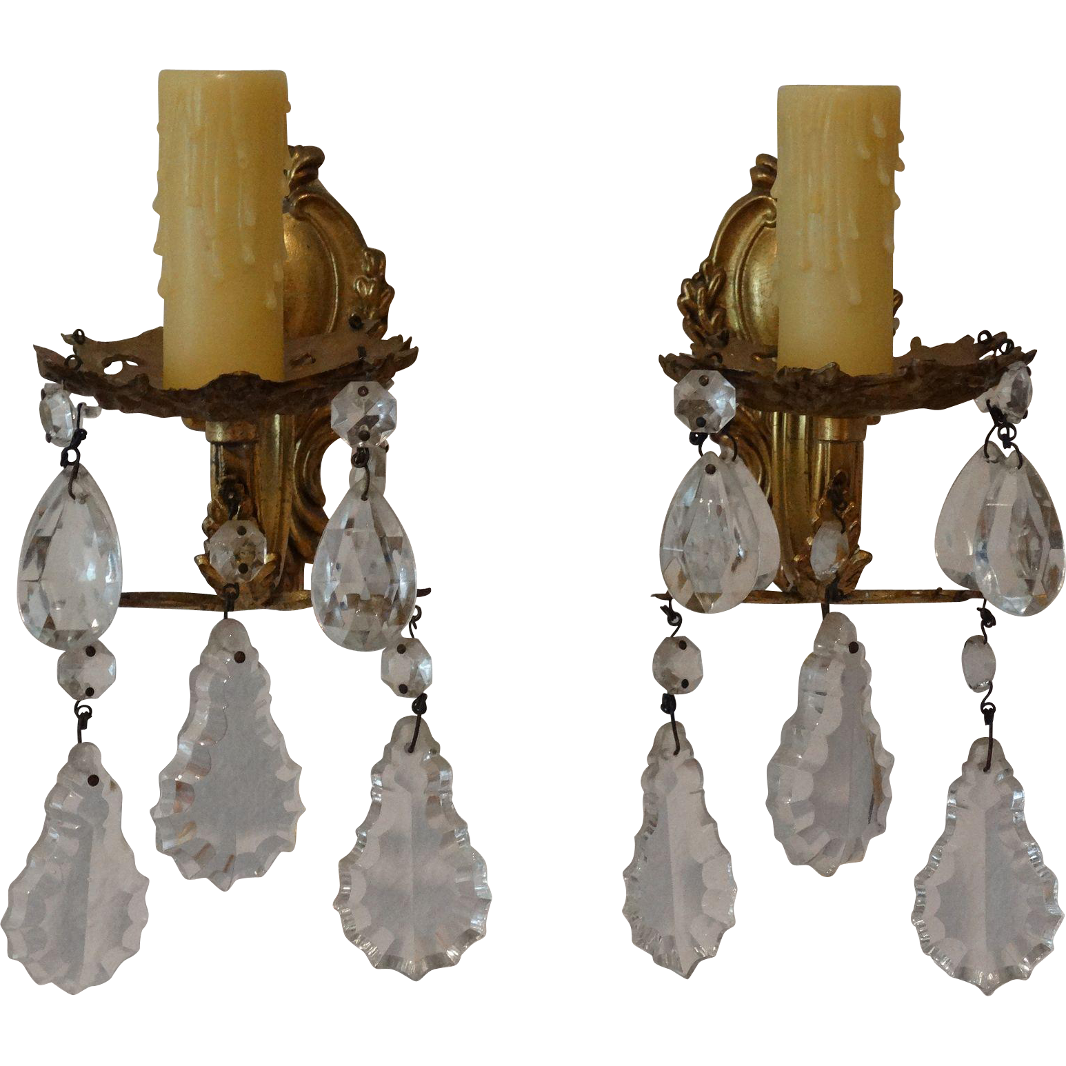 French Crystal Wall Sconces : French Crystal Wall Sconces, Pair, Wired from faded-rose-antiques-llc on Ruby Lane