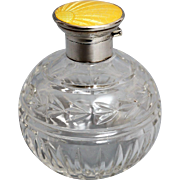 Yellow Guilloche & Sterling Crystal Perfume Bottle, Circa 1920