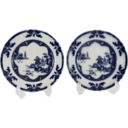 English Spode Landscape Chinoiserie Plates, Pair