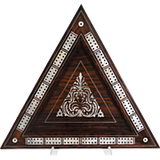 Antique Rosewood & Mother of Pearl Cribbage Board