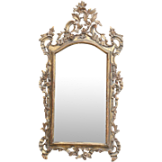 19th-Century Antique Italian Carved Wood Gilt Rococo Mirror, Original Glass