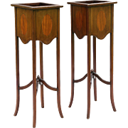 Antique Mahogany Jardiniere Plant Stands, Pair