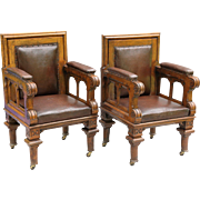 Antique Oak & Leather Library Chairs, Pair, English, Circa 1850