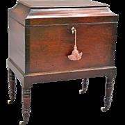Antique Mahogany Liquor Cellarette W/ Key