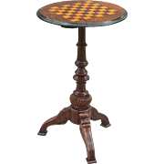 Antique Walnut Inlay Games Table