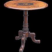 English Burl Walnut Wine / Side Table